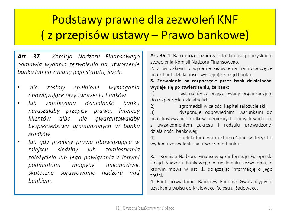 Podstawy prawne dla zezwoleń KNF ( z przepisów ustawy – Prawo bankowe) Art. 37. Komisja Nadzoru Finansowego odmawia wydania zezwolenia na utworzenie b