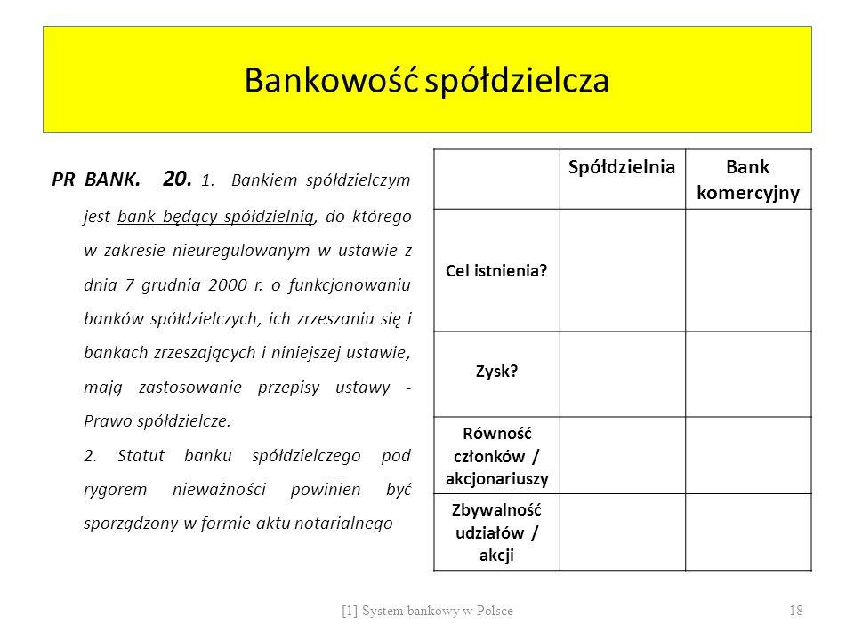 Bankowość spółdzielcza PR BANK. 20. 1. Bankiem spółdzielczym jest bank będący spółdzielnią, do którego w zakresie nieuregulowanym w ustawie z dnia 7 g