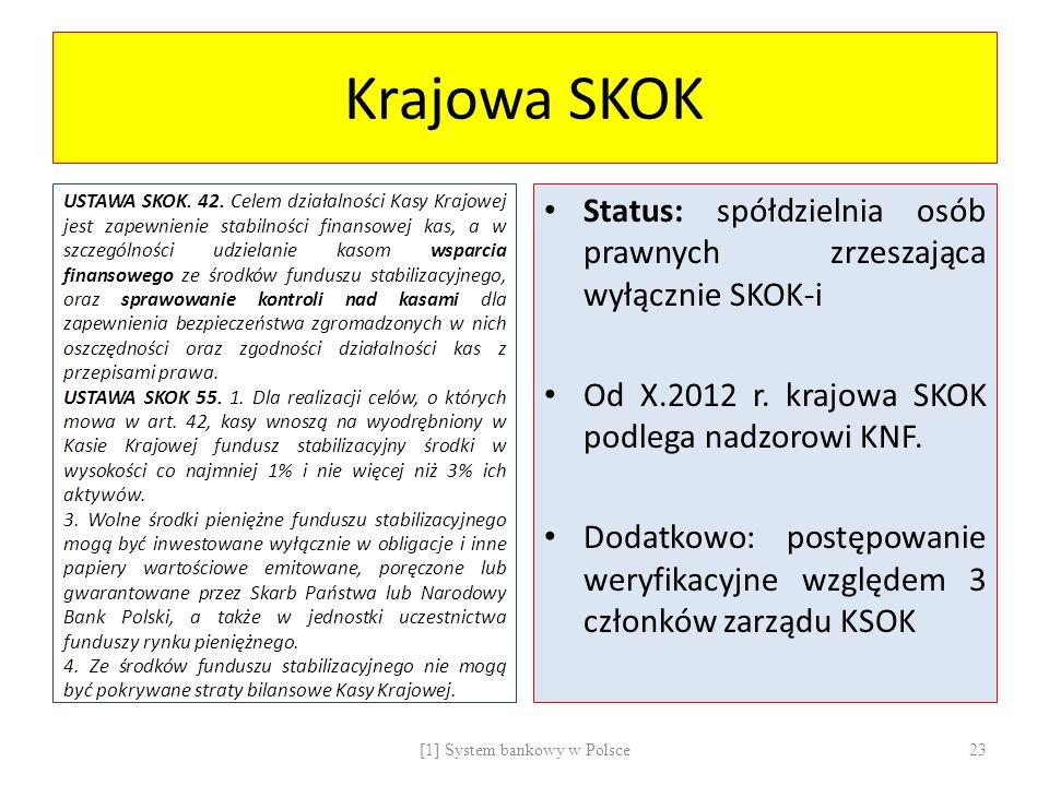 Krajowa SKOK USTAWA SKOK. 42. Celem działalności Kasy Krajowej jest zapewnienie stabilności finansowej kas, a w szczególności udzielanie kasom wsparci