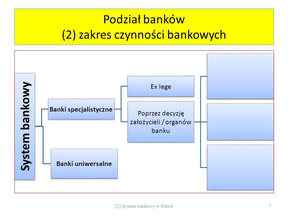 Podział banków (3) siedziba System bankowy Bank krajowy Bank zagraniczny Oddział Przedstawicielstwo Instytucja kredytowa Oddział Przedstawicielstwo Działalność transgraniczna Działalność transgraniczna (cross – border activity) - wykonywanie przez instytucję kredytową na terytorium Rzeczypospolitej Polskiej lub przez bank krajowy na terytorium państwa goszczącego wszystkich lub niektórych czynności w zakresie wynikającym z udzielonego zezwolenia, bez uczestnictwa oddziału tej instytucji lub banku; Oddział (branch) – jednostka organizacyjna banku wykonująca w jego imieniu i na jego rachunek upoważnione czynności bankowe Przedstawicielstwo (representative office) – jednostka organizacyjna banku powołana dla celów reklamowych i marketingowych [1] System bankowy w Polsce8