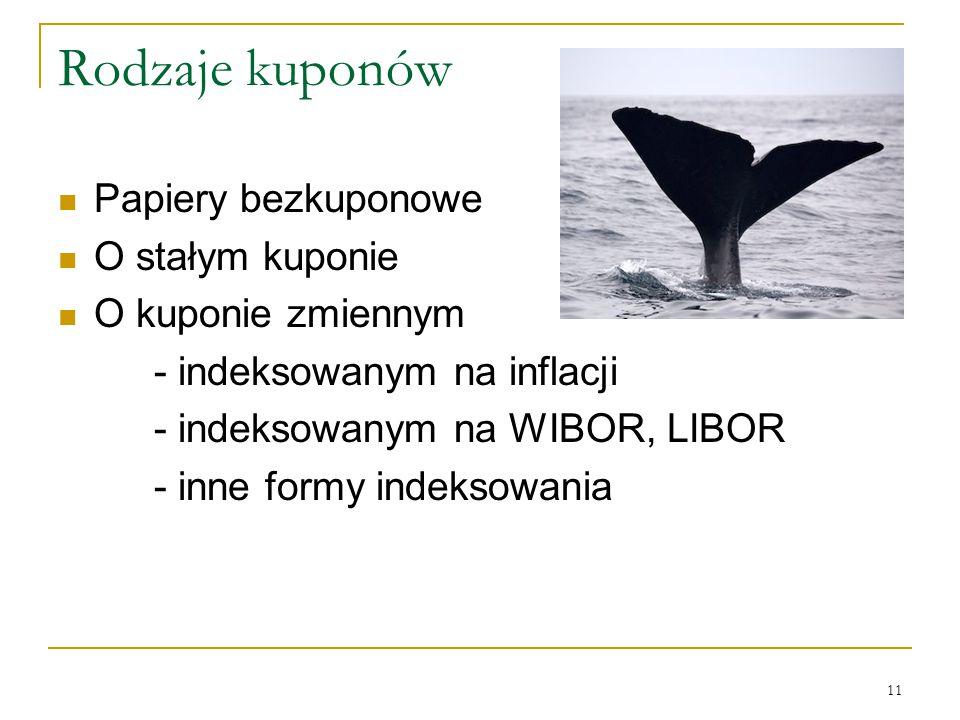 11 Rodzaje kuponów Papiery bezkuponowe O stałym kuponie O kuponie zmiennym - indeksowanym na inflacji - indeksowanym na WIBOR, LIBOR - inne formy inde
