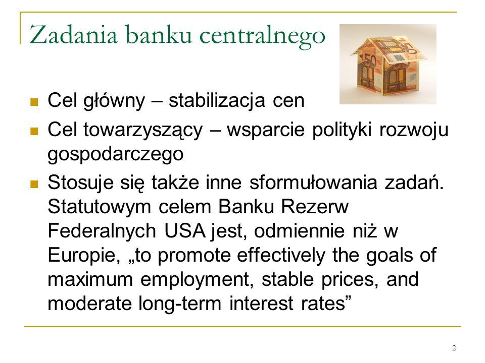 2 Zadania banku centralnego Cel główny – stabilizacja cen Cel towarzyszący – wsparcie polityki rozwoju gospodarczego Stosuje się także inne sformułowa
