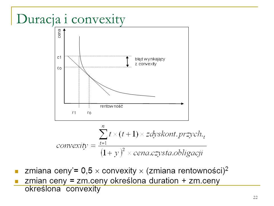 22 Duracja i convexity zmiana ceny'= 0,5  convexity  (zmiana rentowności) 2 zmian ceny = zm.ceny określona duration + zm.ceny określona convexity