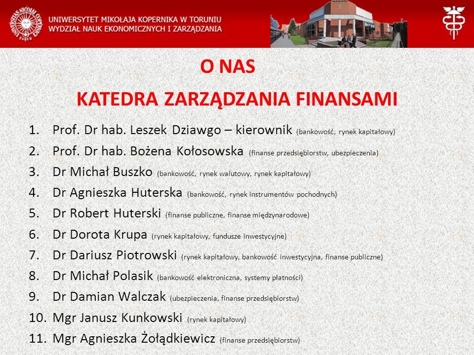 KATEDRA ZARZĄDZANIA FINANSAMI 1.Prof. Dr hab. Leszek Dziawgo – kierownik (bankowość, rynek kapitałowy) 2.Prof. Dr hab. Bożena Kołosowska (finanse prze