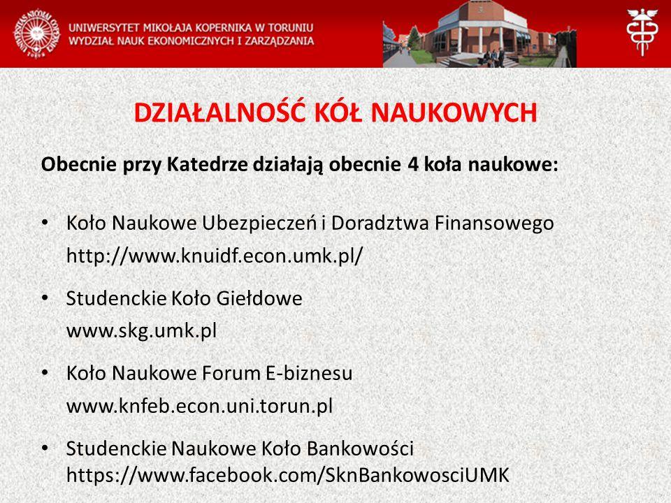 DZIAŁALNOŚĆ KÓŁ NAUKOWYCH Obecnie przy Katedrze działają obecnie 4 koła naukowe: Koło Naukowe Ubezpieczeń i Doradztwa Finansowego http://www.knuidf.econ.umk.pl/ Studenckie Koło Giełdowe www.skg.umk.pl Koło Naukowe Forum E-biznesu www.knfeb.econ.uni.torun.pl Studenckie Naukowe Koło Bankowości https://www.facebook.com/SknBankowosciUMK