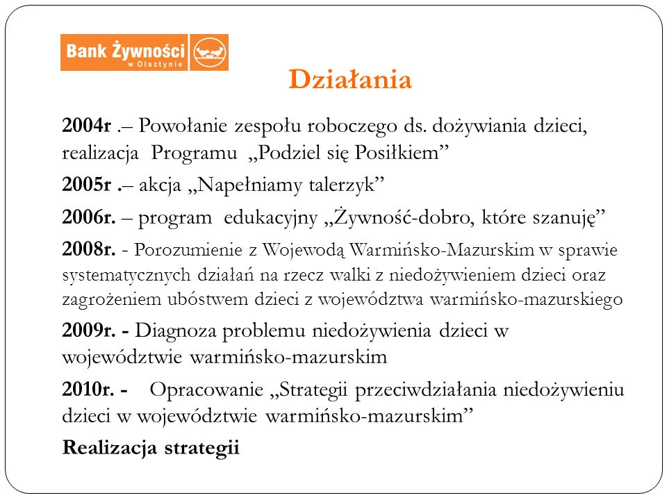 Działania 2004r.– Powołanie zespołu roboczego ds.