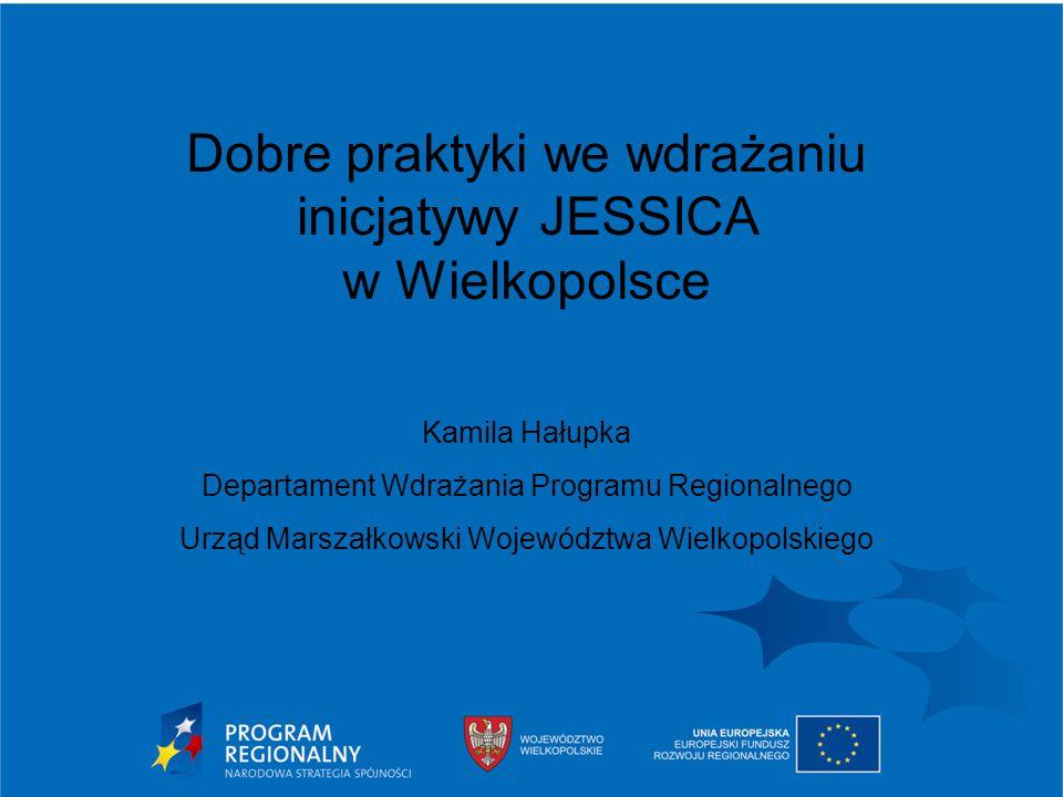 2015-03-31 Urząd Marszałkowski Województwa Wielkopolskiego w Poznaniu 2 inicjatywa JESSICA w Wielkopolsce Inicjatywa JESSICA w Wielkopolsce realizowana jest w ramach: działanie 4.1 Rewitalizacja Obszarów Miejskich oraz działanie 1.4 Wsparcie przedsięwzięć powiązanych z Regionalną Strategią Innowacji schemat III Inwestycje we wsparcie instytucji otoczenia biznesu na terenach miejskich Wielkopolskiego Regionalnego Programu Operacyjnego.