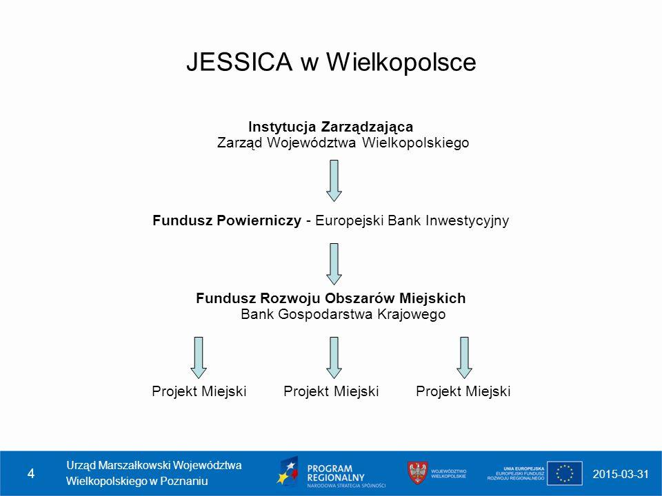 JESSICA w Wielkopolsce Instytucja Zarządzająca Zarząd Województwa Wielkopolskiego Fundusz Powierniczy - Europejski Bank Inwestycyjny Fundusz Rozwoju O