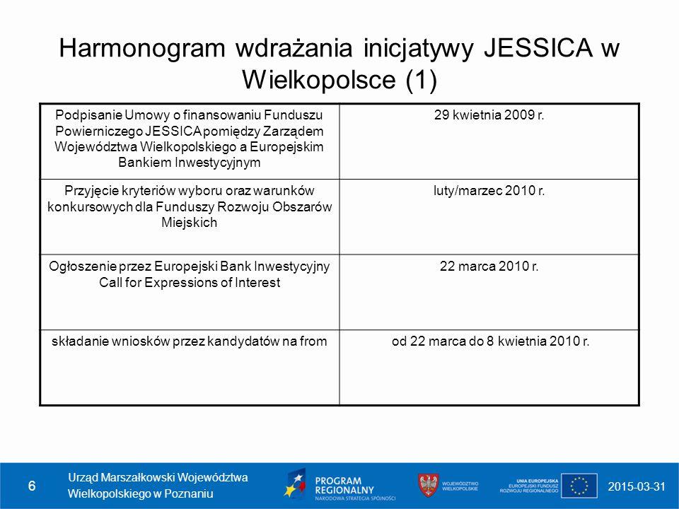 2015-03-31 Urząd Marszałkowski Województwa Wielkopolskiego w Poznaniu 6 Harmonogram wdrażania inicjatywy JESSICA w Wielkopolsce (1) Podpisanie Umowy o