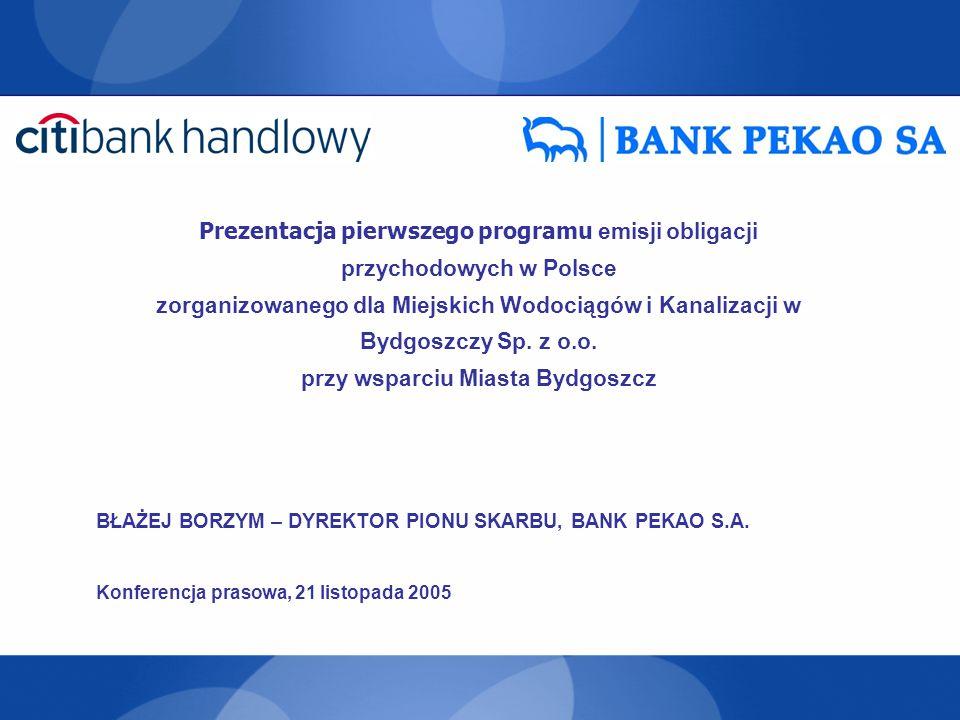 Prezentacja pierwszego programu emisji obligacji przychodowych w Polsce zorganizowanego dla Miejskich Wodociągów i Kanalizacji w Bydgoszczy Sp. z o.o.