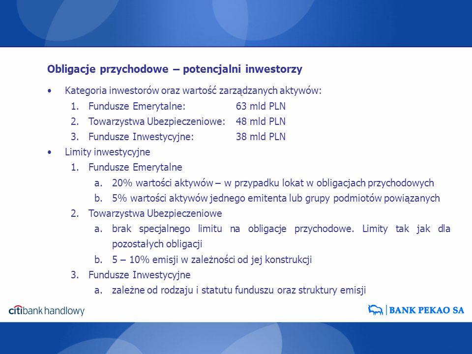 Kategoria inwestorów oraz wartość zarządzanych aktywów: 1.Fundusze Emerytalne:63 mld PLN 2.Towarzystwa Ubezpieczeniowe: 48 mld PLN 3.Fundusze Inwestyc