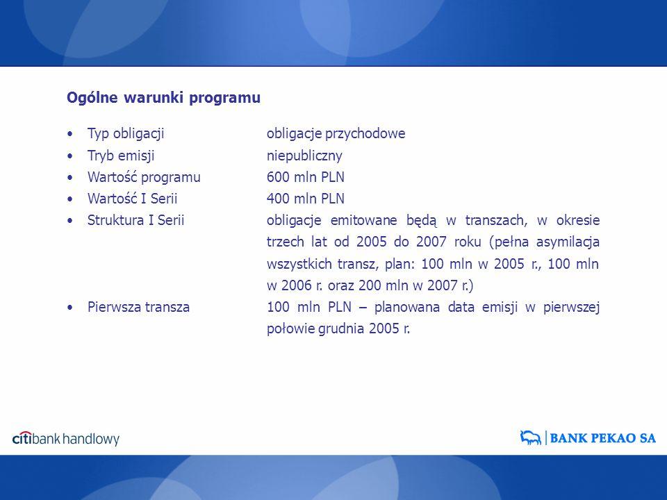 Typ obligacjiobligacje przychodowe Tryb emisjiniepubliczny Wartość programu600 mln PLN Wartość I Serii400 mln PLN Struktura I Seriiobligacje emitowane