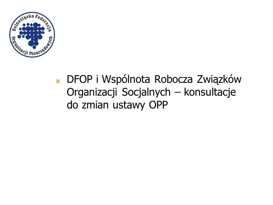DFOP i Wspólnota Robocza Związków Organizacji Socjalnych – konsultacje do zmian ustawy OPP