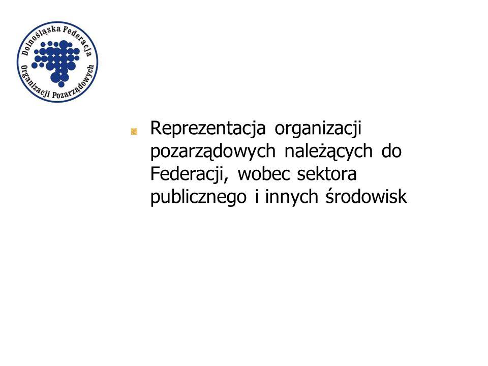 Reprezentacja organizacji pozarządowych należących do Federacji, wobec sektora publicznego i innych środowisk