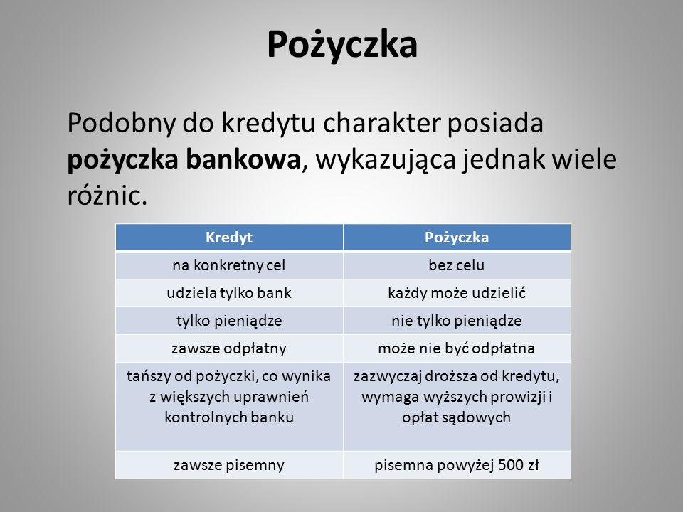 Pożyczka Podobny do kredytu charakter posiada pożyczka bankowa, wykazująca jednak wiele różnic. KredytPożyczka na konkretny celbez celu udziela tylko