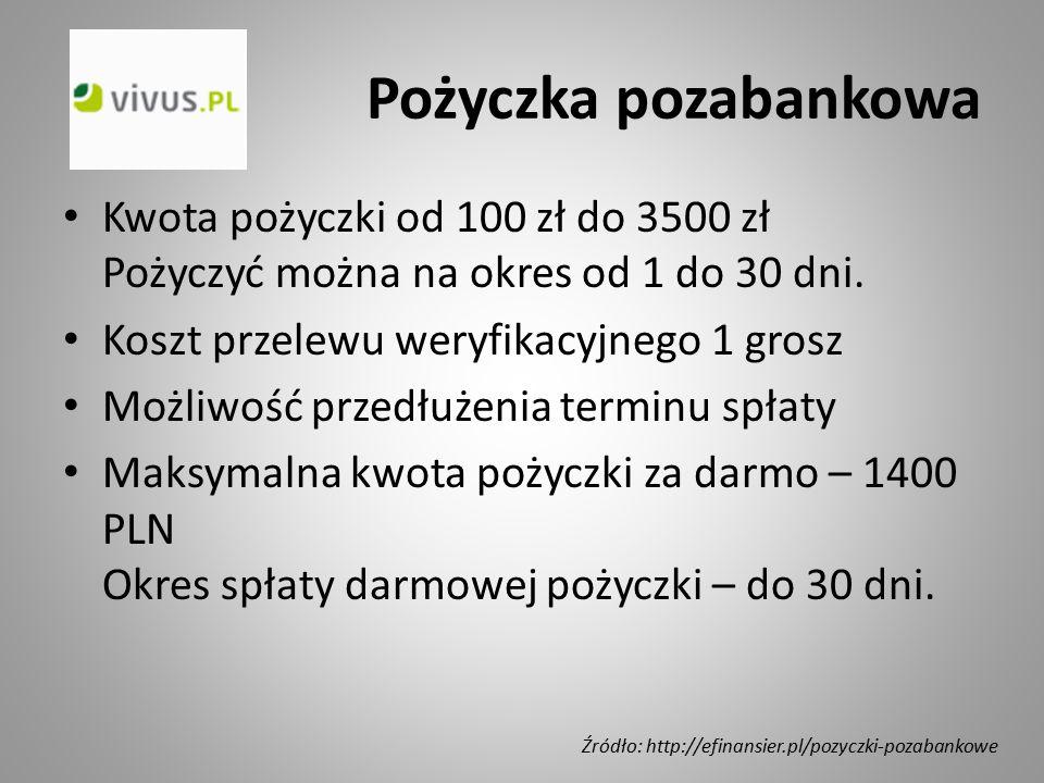 Pożyczka pozabankowa Kwota pożyczki od 100 zł do 3500 zł Pożyczyć można na okres od 1 do 30 dni. Koszt przelewu weryfikacyjnego 1 grosz Możliwość prze