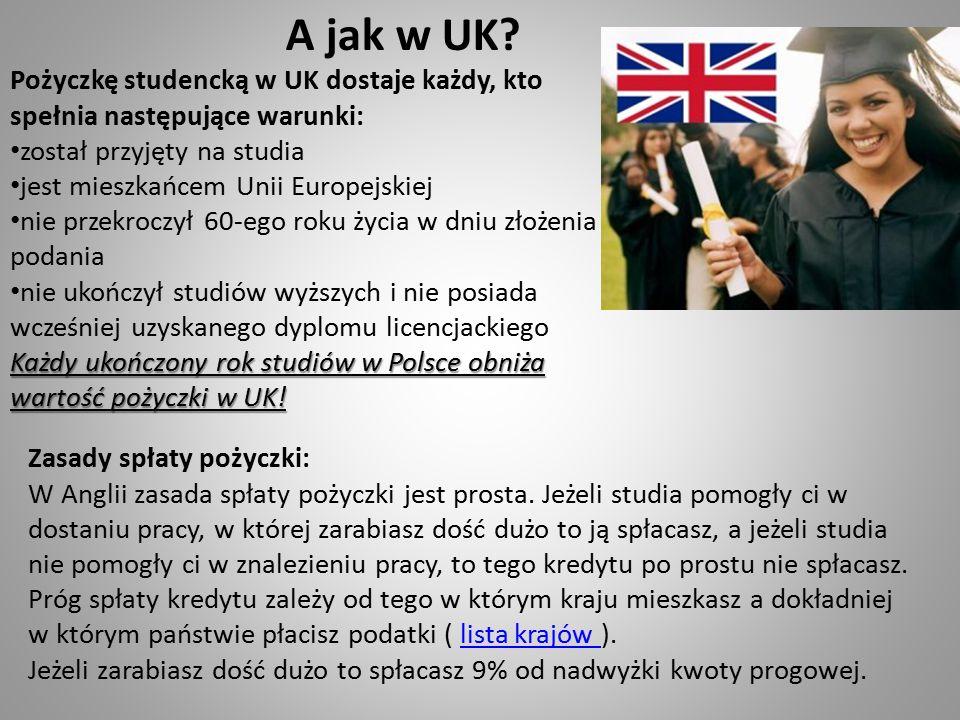 A jak w UK? Pożyczkę studencką w UK dostaje każdy, kto spełnia następujące warunki: został przyjęty na studia jest mieszkańcem Unii Europejskiej nie p