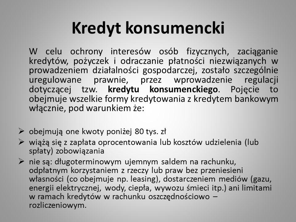 Kredyt konsumencki W celu ochrony interesów osób fizycznych, zaciąganie kredytów, pożyczek i odraczanie płatności niezwiązanych w prowadzeniem działal