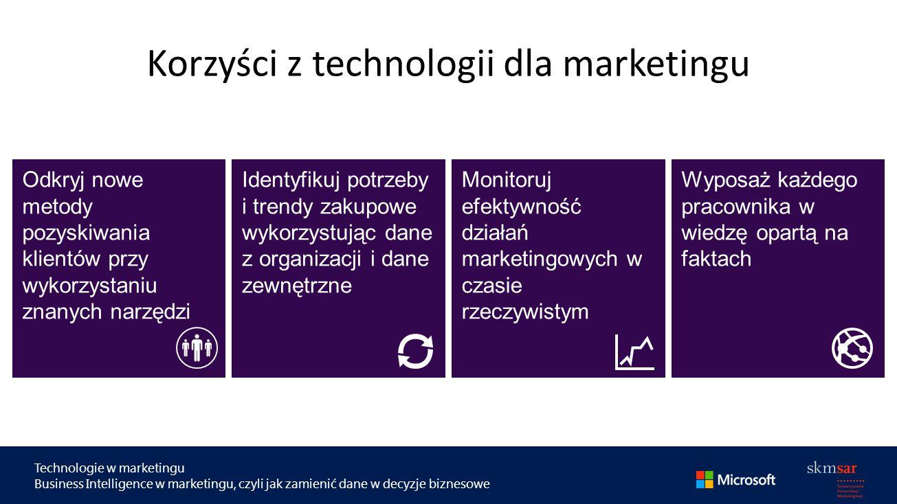 Technologie w marketingu Business Intelligence w marketingu, czyli jak zamienić dane w decyzje biznesowe Korzyści z technologii dla marketingu Odkryj nowe metody pozyskiwania klientów przy wykorzystaniu znanych narzędzi Identyfikuj potrzeby i trendy zakupowe wykorzystując dane z organizacji i dane zewnętrzne Monitoruj efektywność działań marketingowych w czasie rzeczywistym Wyposaż każdego pracownika w wiedzę opartą na faktach