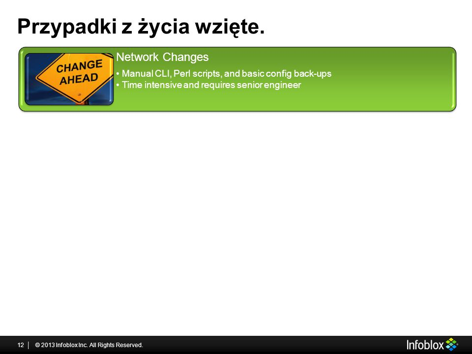 Przypadki z życia wzięte. © 2013 Infoblox Inc. All Rights Reserved.12 Network Changes Manual CLI, Perl scripts, and basic config back-ups Time intensi