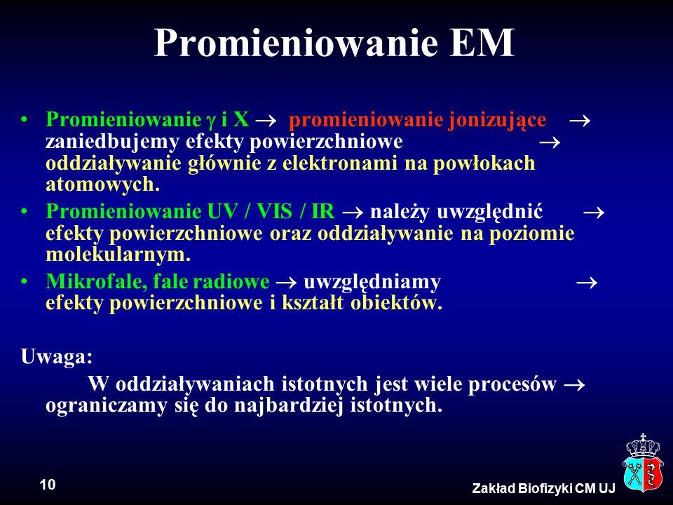 10 Zakład Biofizyki CM UJ Promieniowanie EM Promieniowanie  i X  promieniowanie jonizujące  zaniedbujemy efekty powierzchniowe  oddziaływanie głównie z elektronami na powłokach atomowych.