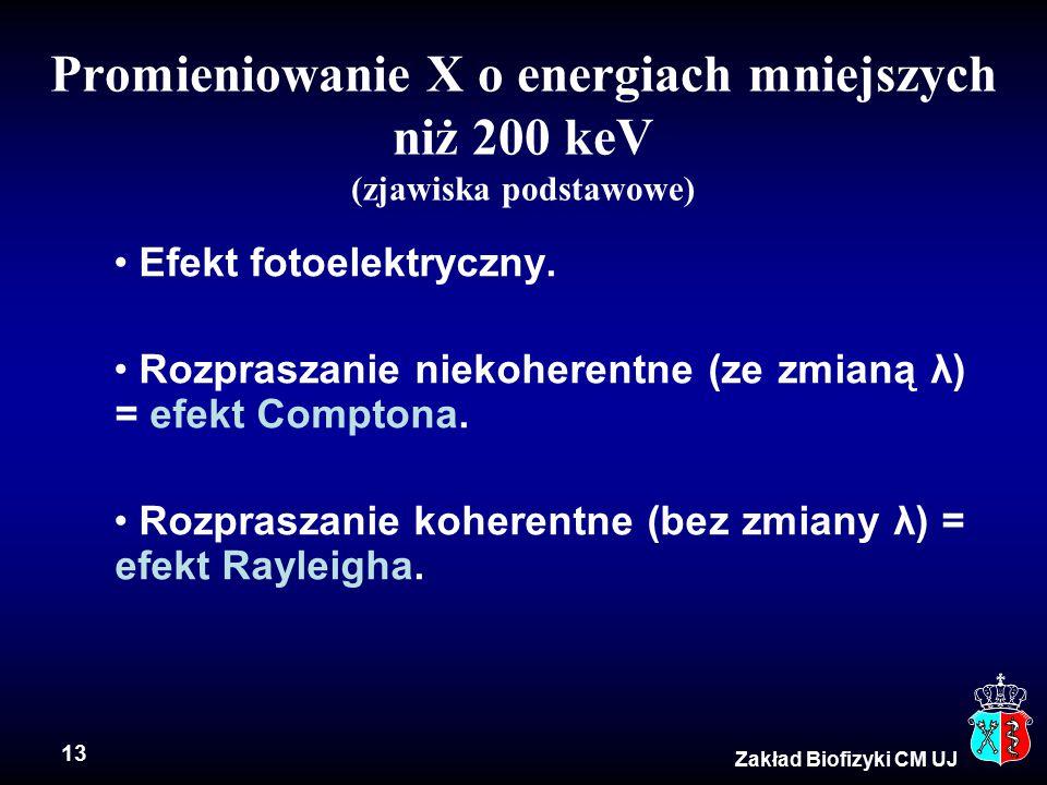 13 Zakład Biofizyki CM UJ Promieniowanie X o energiach mniejszych niż 200 keV (zjawiska podstawowe) Efekt fotoelektryczny.