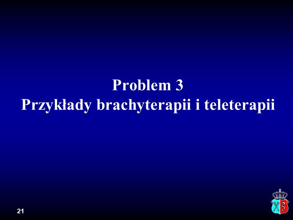 21 Problem 3 Przykłady brachyterapii i teleterapii