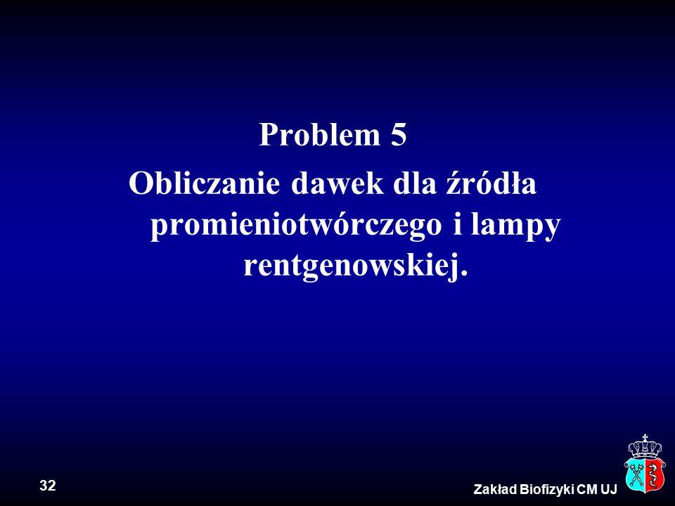 32 Zakład Biofizyki CM UJ Problem 5 Obliczanie dawek dla źródła promieniotwórczego i lampy rentgenowskiej.