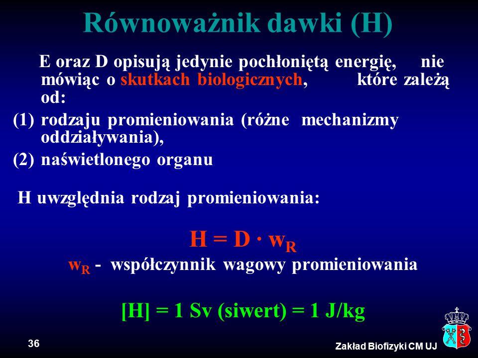 36 Zakład Biofizyki CM UJ E oraz D opisują jedynie pochłoniętą energię, nie mówiąc o skutkach biologicznych, które zależą od: (1)rodzaju promieniowania (różne mechanizmy oddziaływania), (2)naświetlonego organu H uwzględnia rodzaj promieniowania: H = D · w R w R - współczynnik wagowy promieniowania [H] = 1 Sv (siwert) = 1 J/kg Równoważnik dawki (H)