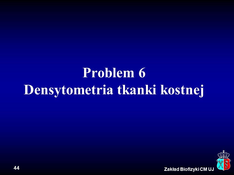 44 Zakład Biofizyki CM UJ Problem 6 Densytometria tkanki kostnej