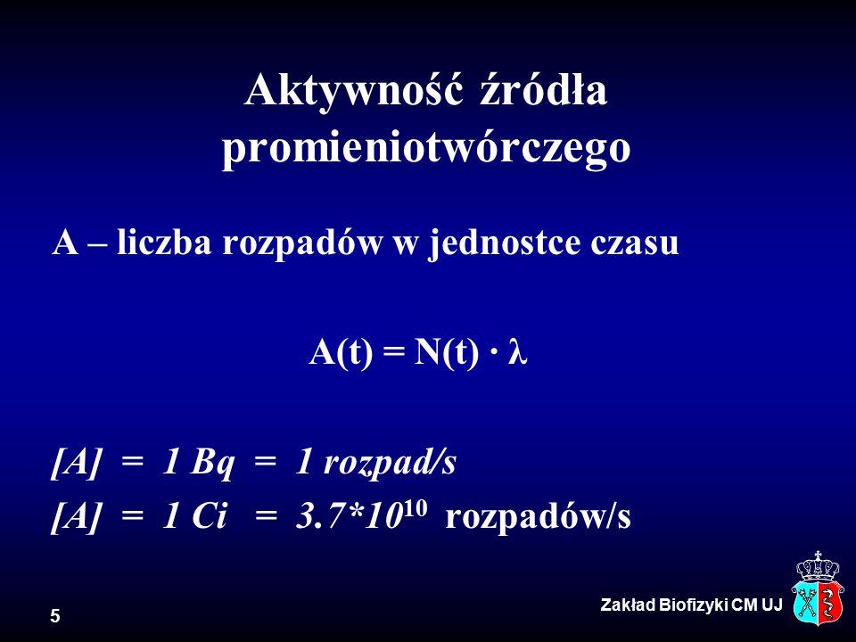5 Aktywność źródła promieniotwórczego A – liczba rozpadów w jednostce czasu A(t) = N(t) · λ [A] = 1 Bq = 1 rozpad/s [A] = 1 Ci = 3.7*10 10 rozpadów/s Zakład Biofizyki CM UJ