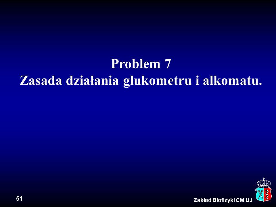 51 Zakład Biofizyki CM UJ Problem 7 Zasada działania glukometru i alkomatu.
