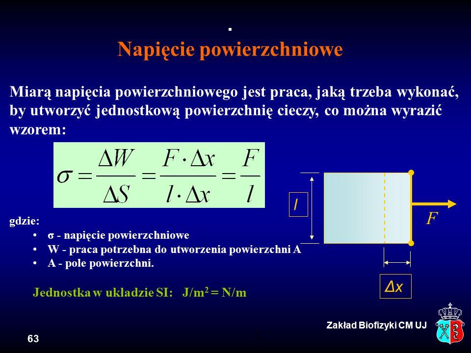 63 Zakład Biofizyki CM UJ Miarą napięcia powierzchniowego jest praca, jaką trzeba wykonać, by utworzyć jednostkową powierzchnię cieczy, co można wyrazić wzorem: gdzie: σ - napięcie powierzchniowe W - praca potrzebna do utworzenia powierzchni A A - pole powierzchni.
