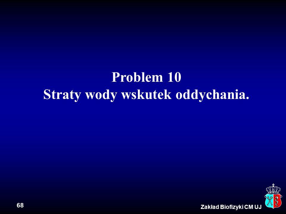 68 Zakład Biofizyki CM UJ Problem 10 Straty wody wskutek oddychania.