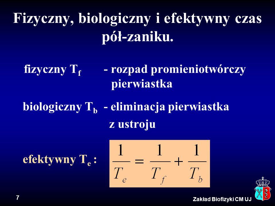 7 Fizyczny, biologiczny i efektywny czas pół-zaniku.