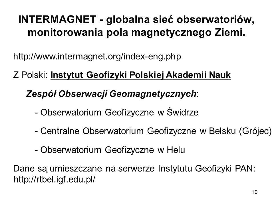 10 INTERMAGNET - globalna sieć obserwatoriów, monitorowania pola magnetycznego Ziemi. http://www.intermagnet.org/index-eng.php Z Polski: Instytut Geof