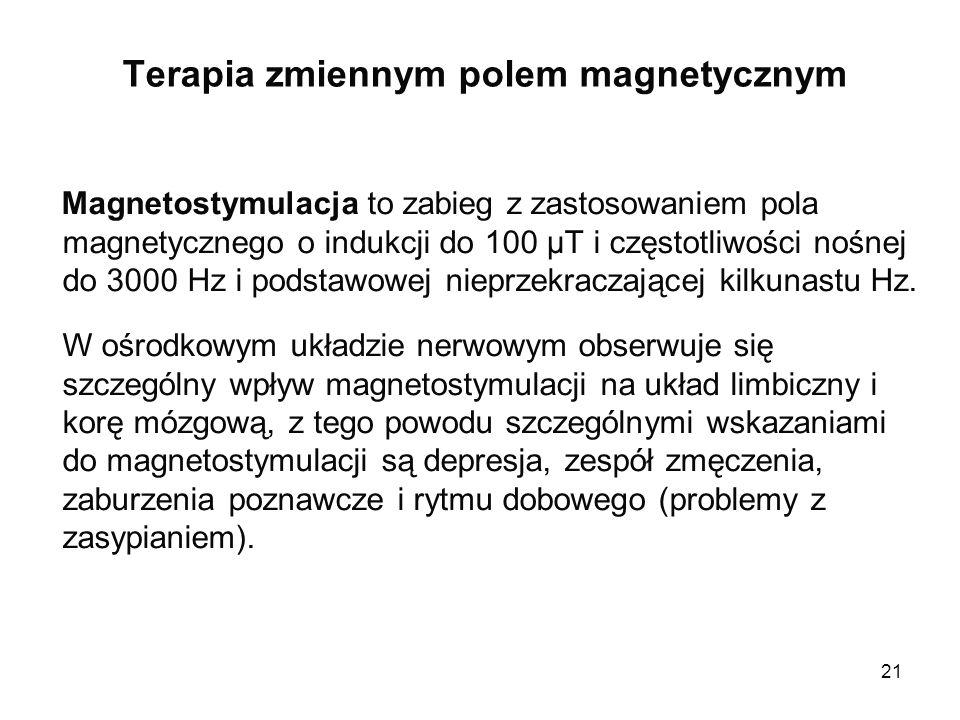 21 Terapia zmiennym polem magnetycznym Magnetostymulacja to zabieg z zastosowaniem pola magnetycznego o indukcji do 100 µT i częstotliwości nośnej do