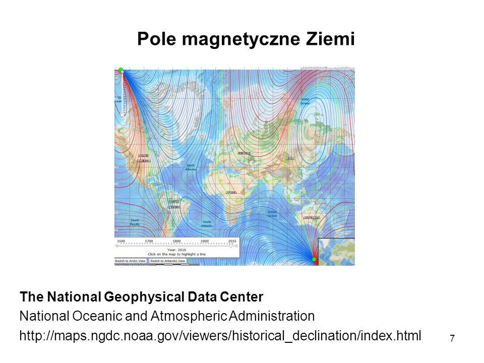 8 Bieguny magnetyczne Ziemi Obecnie uważa się, że pole magnetyczne Ziemi wywołują wirowe prądy elektryczne płynące w płynnym jądrze Ziemi.