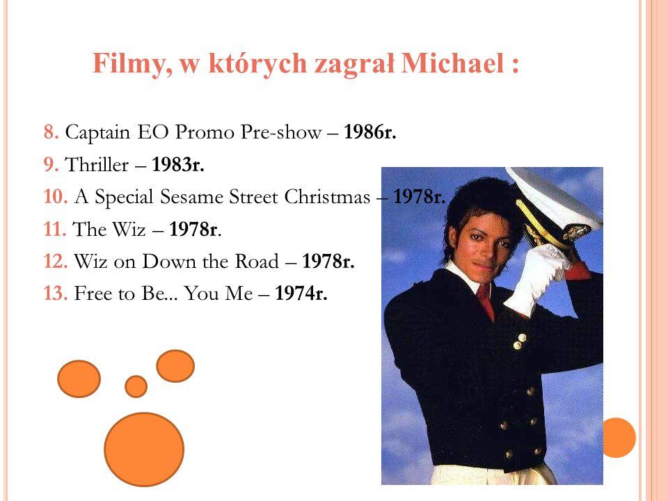 Filmy, w których zagrał Michael : 8. Captain EO Promo Pre-show – 1986r. 9. Thriller – 1983r. 10. A Special Sesame Street Christmas – 1978r. 11. The Wi