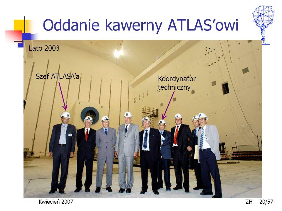 Kwiecień 2007 ZH 20/57 Oddanie kawerny ATLAS'owi Lato 2003 Koordynator techniczny Szef ATLASA'a
