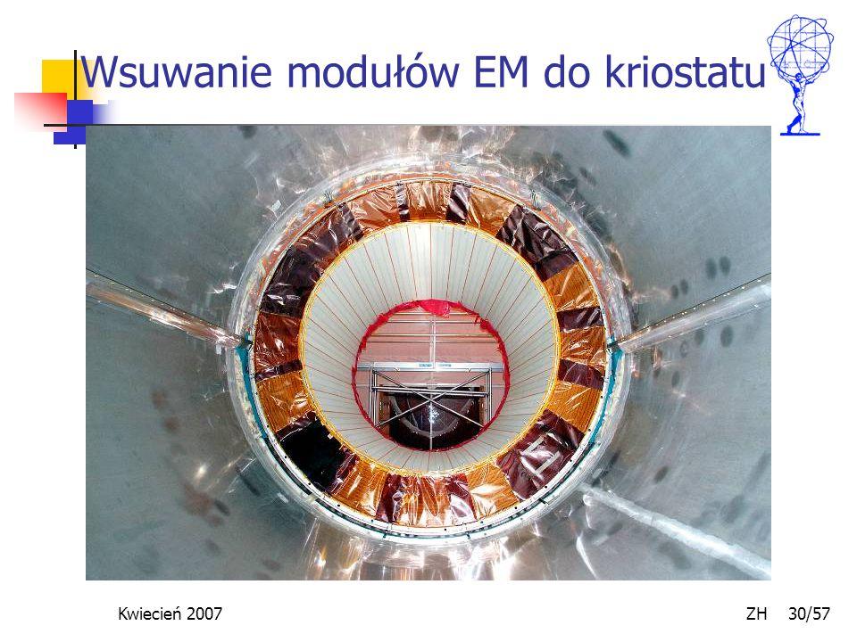 Kwiecień 2007 ZH 30/57 Wsuwanie modułów EM do kriostatu