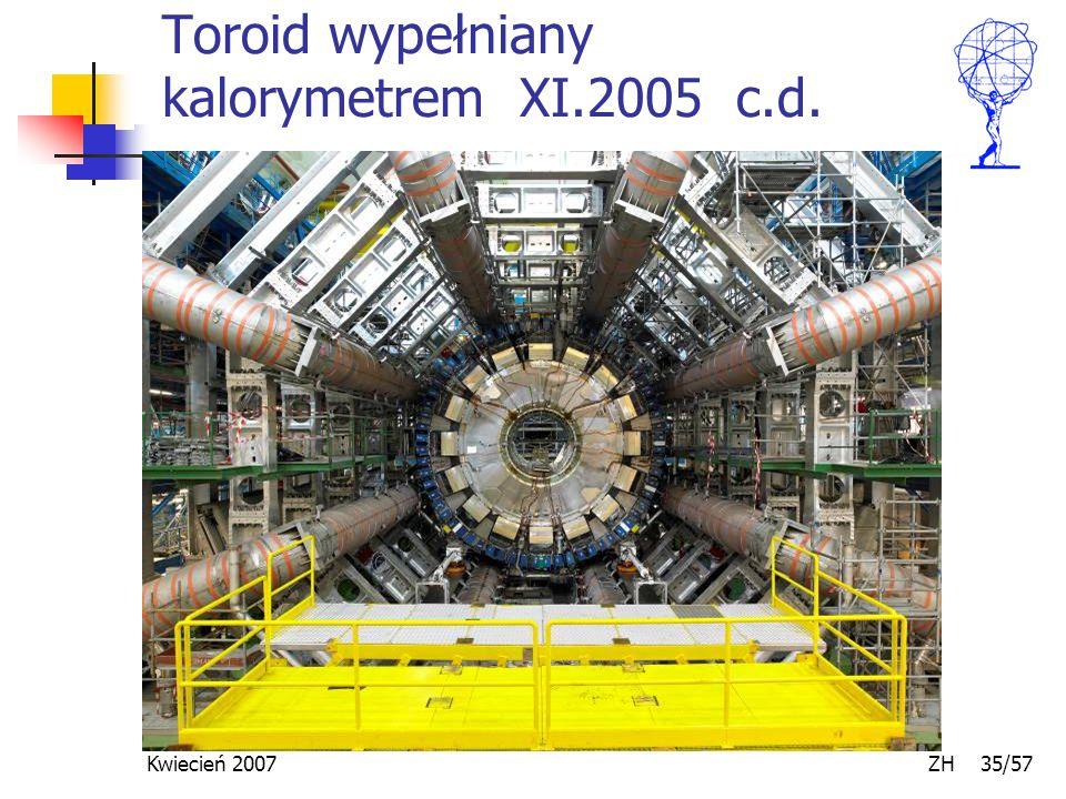 Kwiecień 2007 ZH 35/57 Toroid wypełniany kalorymetrem XI.2005 c.d.