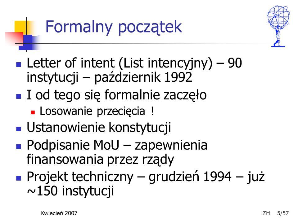 Kwiecień 2007 ZH 5/57 Formalny początek Letter of intent (List intencyjny) – 90 instytucji – październik 1992 I od tego się formalnie zaczęło Losowanie przecięcia .
