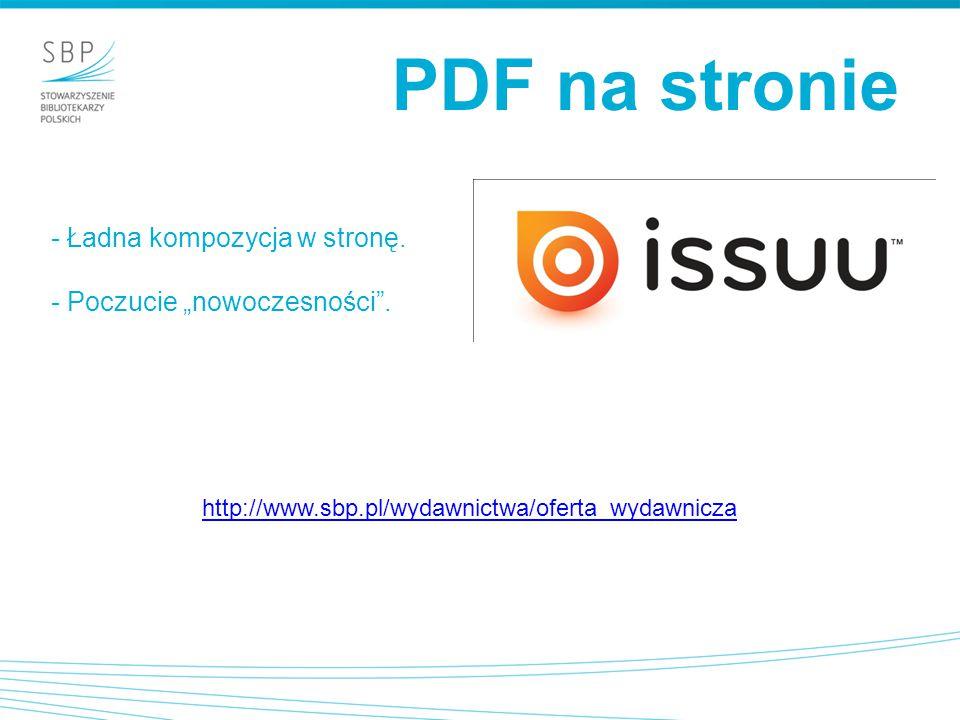 """PDF na stronie - Ładna kompozycja w stronę. - Poczucie """"nowoczesności ."""
