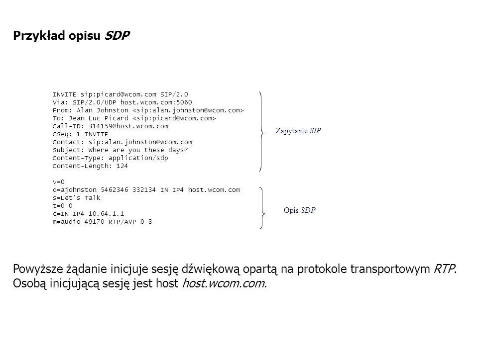 Deskryptory danych audio/wideo: m= - sekcja opisu danych ma cztery parametry: - charakterystyka danych (np.: audio, video, itd.), - numer portu, - protokół transportowy dla danych (np.