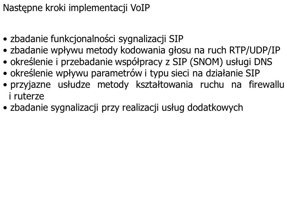VoIP SIP w ofercie SNOM IP Firewall, Ruter (filtrowanie i zliczanie ruchu) SIP UA SIP Proxy SIP Redirect Media server SIP UA IP SIP UA DNS