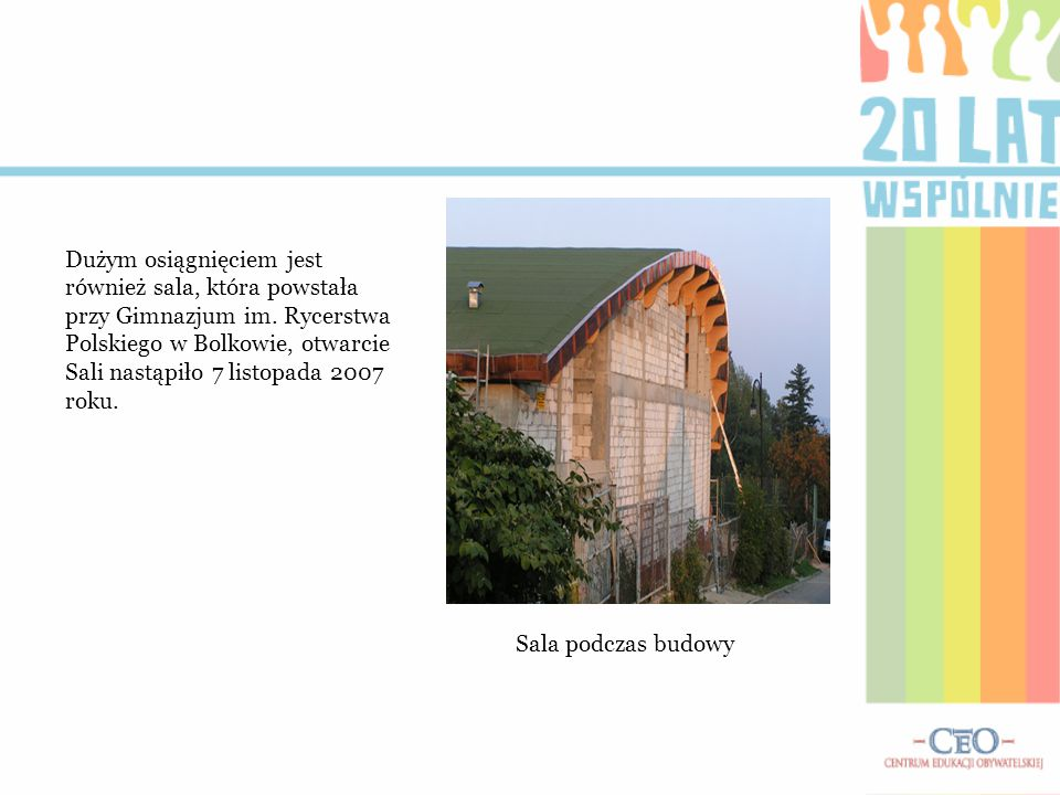 Dużym osiągnięciem jest również sala, która powstała przy Gimnazjum im. Rycerstwa Polskiego w Bolkowie, otwarcie Sali nastąpiło 7 listopada 2007 roku.