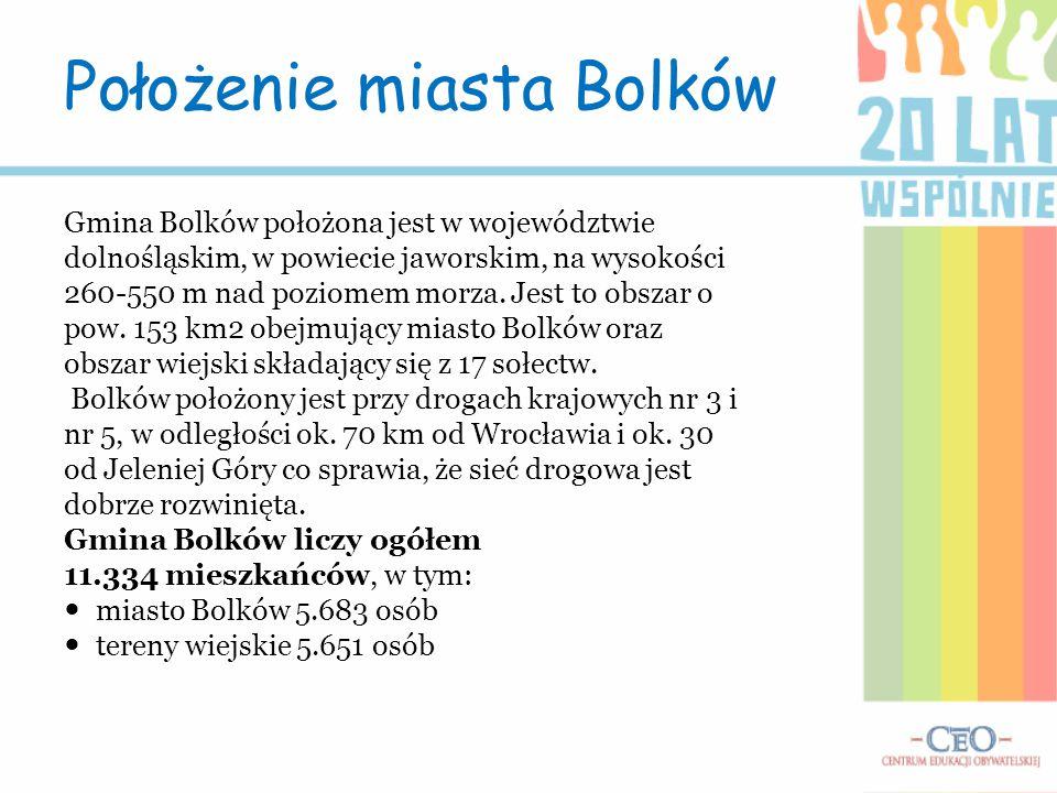 Gmina Bolków położona jest w województwie dolnośląskim, w powiecie jaworskim, na wysokości 260-550 m nad poziomem morza. Jest to obszar o pow. 153 km2