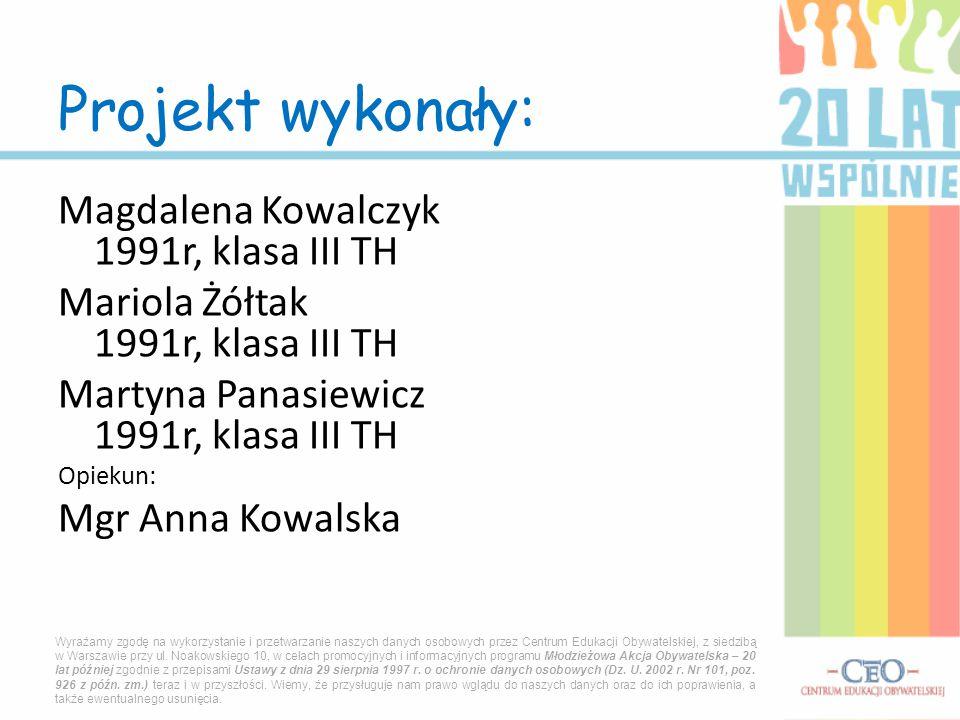 Magdalena Kowalczyk 1991r, klasa III TH Mariola Żółtak 1991r, klasa III TH Martyna Panasiewicz 1991r, klasa III TH Opiekun: Mgr Anna Kowalska Projekt