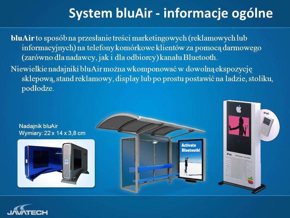 System bluAir - informacje ogólne bluAir to sposób na przesłanie treści marketingowych (reklamowych lub informacyjnych) na telefony komórkowe klientów za pomocą darmowego (zarówno dla nadawcy, jak i dla odbiorcy) kanału Bluetooth.